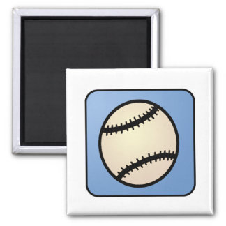 Cartoon Clip Art Sports, Baseball, Blue Background Magnet