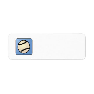 Cartoon Clip Art Sports, Baseball, Blue Background Return Address Label
