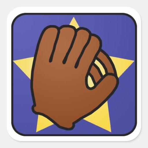 Cartoon Clip Art Sports Baseball Glove Gold Star Stickers
