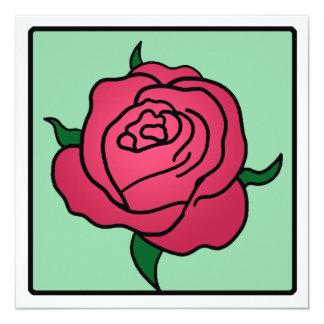 "Cartoon Clip Art Valentine's Day Red Rose Flower 5.25"" Square Invitation Card"