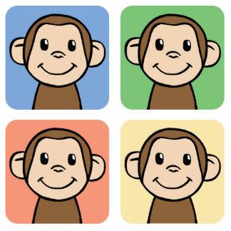Cartoon Clip Art with 4 Happy Monkeys Cutout
