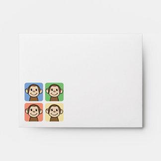 Cartoon Clip Art with 4 Happy Monkeys Envelope