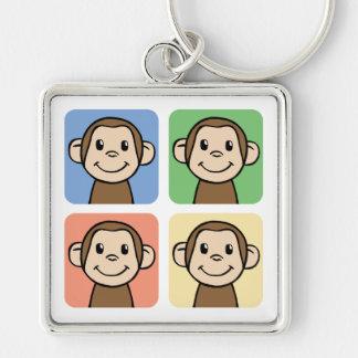 Cartoon Clip Art with 4 Happy Monkeys Keychain