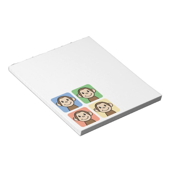 Cartoon Clip Art with 4 Happy Monkeys Notepad