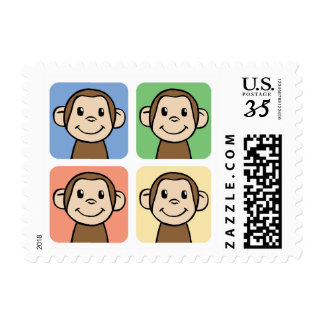 Cartoon Clip Art with 4 Happy Monkeys Postage
