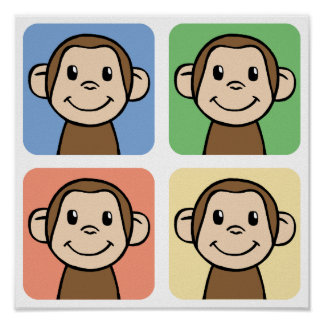 Cartoon Clip Art with 4 Happy Monkeys Poster