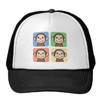 Cartoon Clip Art with 4 Happy Monkeys Trucker Hat