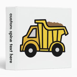 Cartoon Clip Art with a Construction Dump Truck 3 Ring Binder