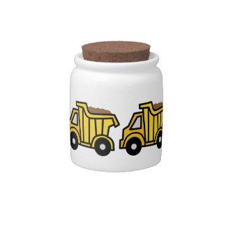 Cartoon Clip Art with a Construction Dump Truck Candy Jar
