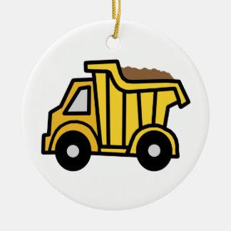 Cartoon Clip Art with a Construction Dump Truck Ceramic Ornament