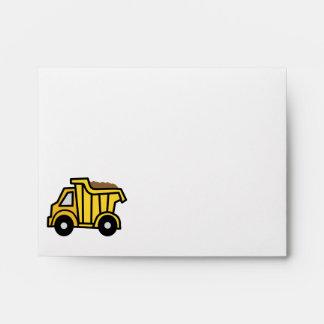 Cartoon Clip Art with a Construction Dump Truck Envelopes