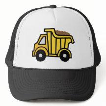 Cartoon Clip Art with a Construction Dump Truck Trucker Hats