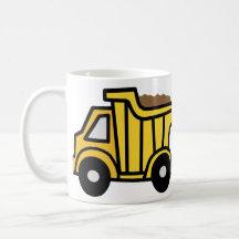 Cartoon Clip Art with a Construction Dump Truck Coffee Mug
