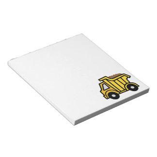 Cartoon Clip Art with a Construction Dump Truck Notepad