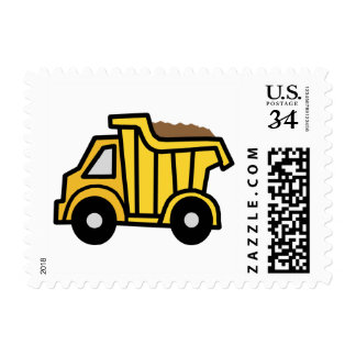 Cartoon Clip Art with a Construction Dump Truck Postage