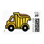 Cartoon Clip Art with a Construction Dump Truck Postage Stamp