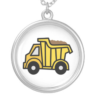 Cartoon Clip Art with a Construction Dump Truck Silver Plated Necklace