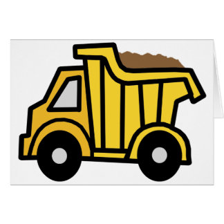 Cartoon Clip Art with a Construction Dump Truck Stationery Note Card