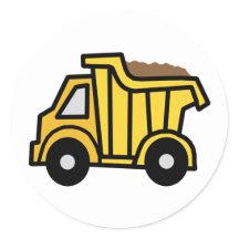Cartoon Clip Art with a Construction Dump Truck Round Stickers