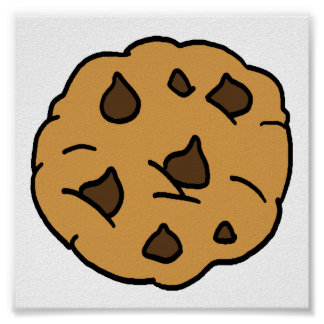 Cartoon Clipart HUGE Chocolate Chip Cookie Dessert Poster