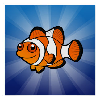 Cartoon Clownfish Poster