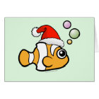 Cartoon Clownfish Santa Card