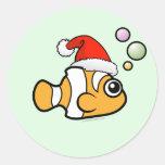 Cartoon Clownfish Santa Stickers