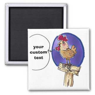 cartoon cock on wooden fence with custom text 2 inch square magnet
