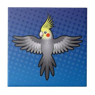 Cartoon Cockatiel Small Square Tile