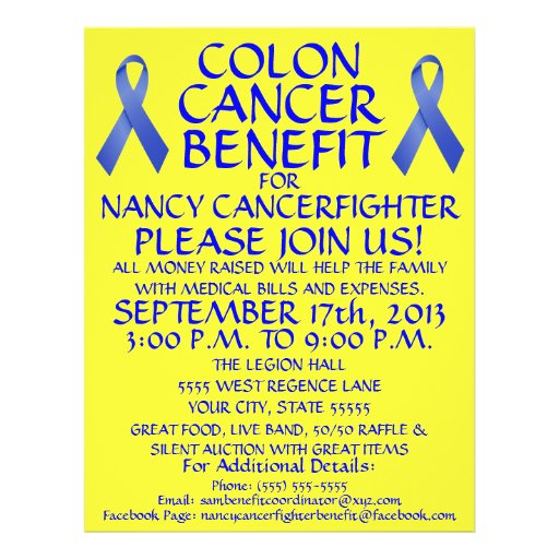 cartoon colon cancer benefit flyer