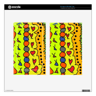 cartoon colored pattern kindle fire decal