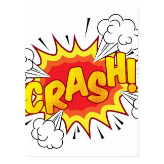 Cartoon Comic Book Crash Explosion Sound Effect Postcard