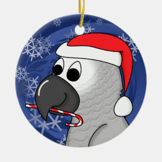 Cartoon Congo African Grey Christmas Ornament
