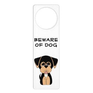 Cartoon Coonhound Beware of Dog Door Hanger