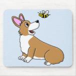 Cartoon Corgi Bee Mousepad