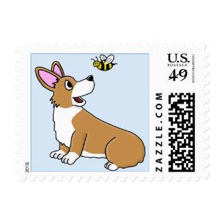 Cartoon Corgi Bee Postage Stamps