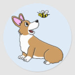 Cartoon Corgi Bee Stickers