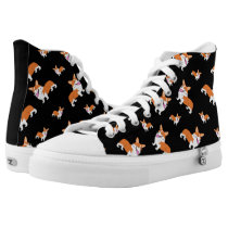 Cartoon Corgi Pattern High-Top Sneakers