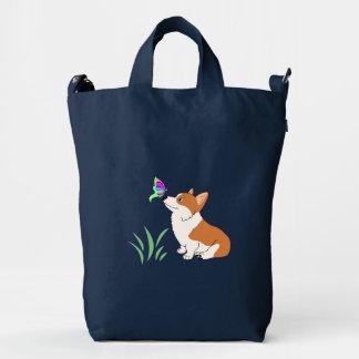 Cartoon Corgi with Butterfly Duck Bag
