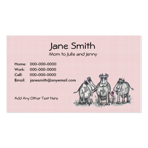 Cartoon Country Cows Contact Card Business Cards