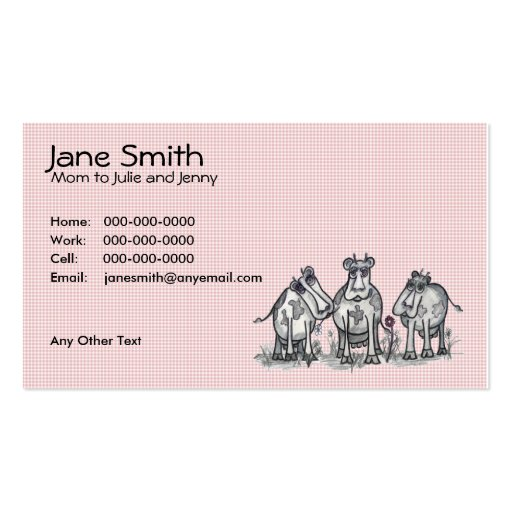 Cartoon Country Cows Contact Card Business Card Templates
