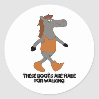 Cartoon Country Horse In Boots Classic Round Stick Classic Round Sticker