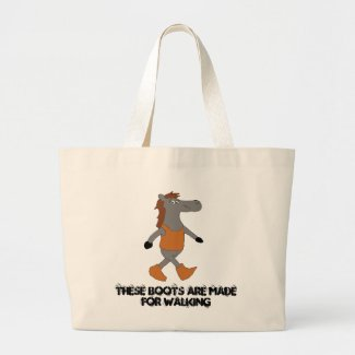 Cartoon Country Horse In Boots Large Tote Bag
