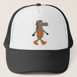 Cartoon Country Horse In Boots Trucker Hat