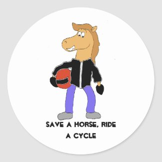 Cartoon Country Music Horse Classic Round Sticker