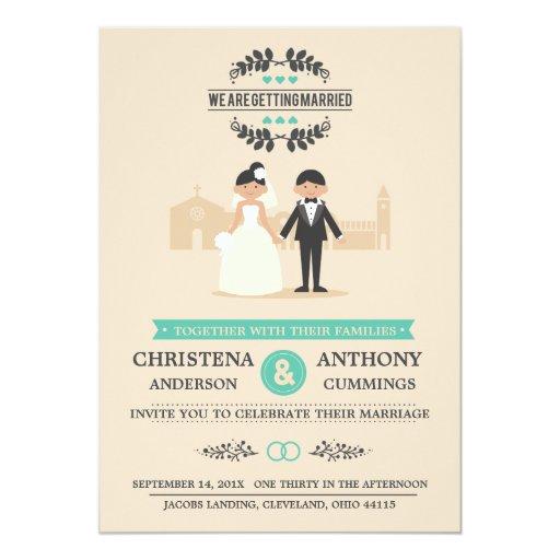 Cartoon Couple Wedding Invitation (CA)