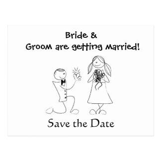 Cartoon Couple Wedding Save the Date Postcard