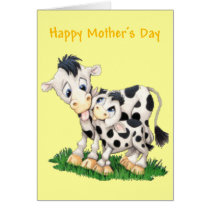Cartoon Cow and Calf Mother's Day Card (Blank)