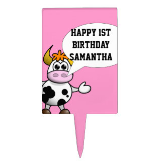 Cartoon cow and speech bubble cake topper