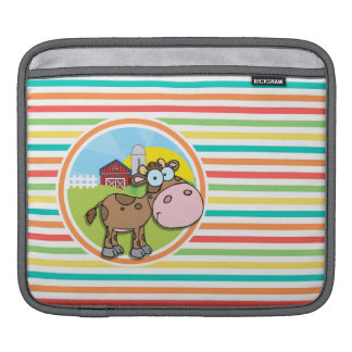 Cartoon Cow; Bright Rainbow Stripes Sleeves For iPads